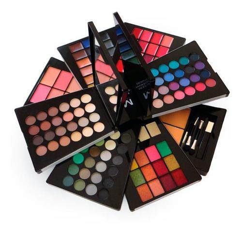 Imagen 1 de 10 de Estuche De Maquillaje Sombras Mate Y Brillo, Rubor, Lipstik