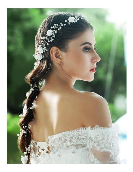 Tiara Coroa Arranjo Enfeite Cabelo Noiva Vintage 15anos Flor
