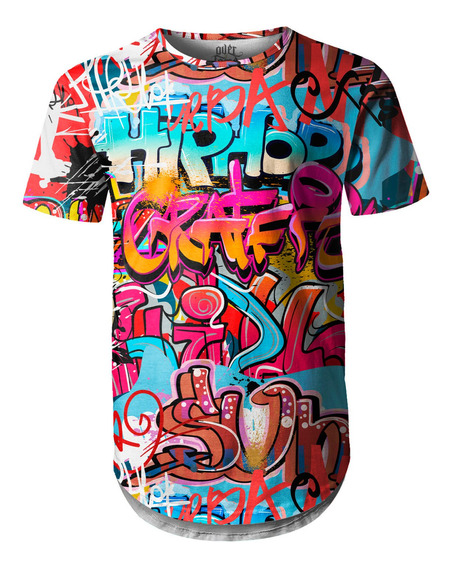 Camiseta Masculina Longline Swag Grafite Hip Hop Grafiti