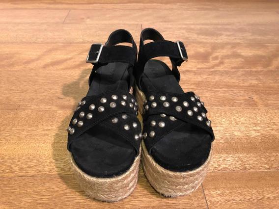 Sandalias Plataforma Yute Cuero Gamuza Negro Paruolo
