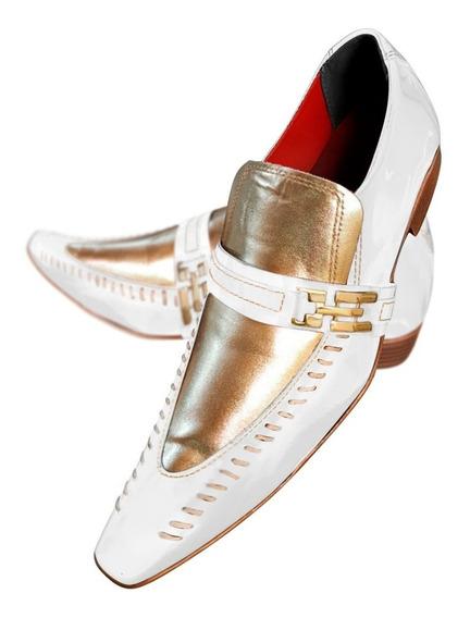 Sapato Masculino Em Couro Branco Verniz C/ Ouro Ref: 472