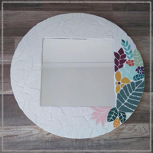 Espejo Artesanal En Mosaico Tropical Diseño