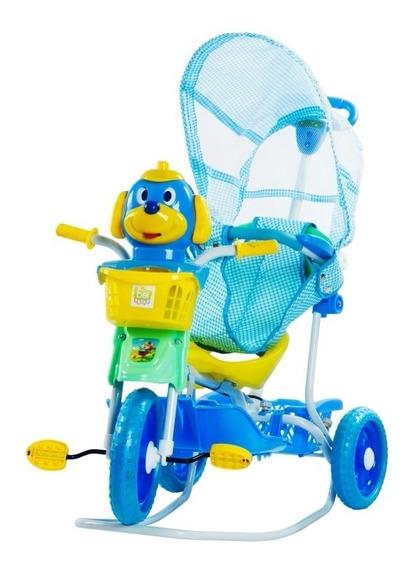 Triciclo Brinquedo Para Bebê Infantil 3em1 Capota E Balanço