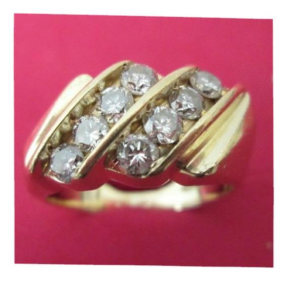 Anillo Caballero Oro 14 Kilates Con Diamantes Naturales.