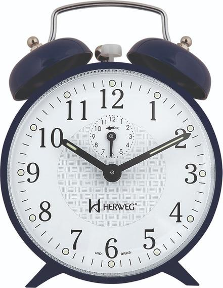 Despertador A Corda Novo Azul Alarme Forte Herweg 2206