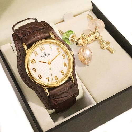 Relógio Champion Feminino Couro Preto Ou Marrom + Kit Brinde