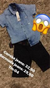 Camisa Jeans E Bermuda Jeans Infantil Meninos!