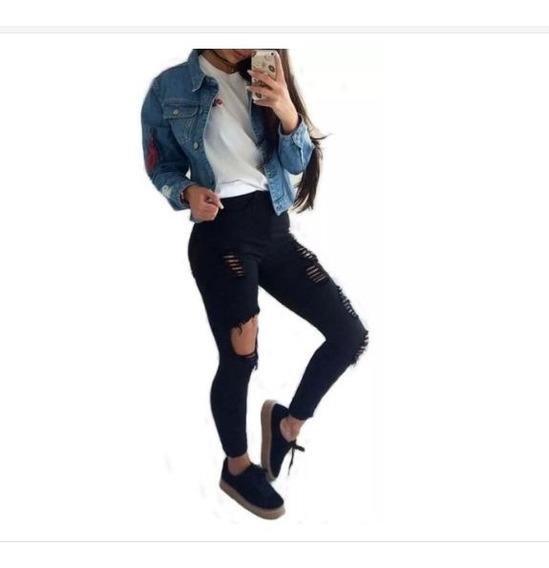 Jeans Calça Roupas Feminina Cintura Alta Dins Lycra Ref 50f
