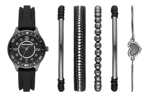 Imagen 1 de 8 de Set Reloj Mujer Skechers De Silicon Pulseras
