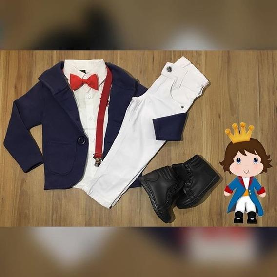 Conjunto Infantil Camisa Blazer Moleton Suspensório Calça