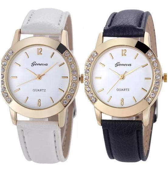 Kit 2 Relógios Feminino Geneva Pulseira De Couro Com Stress