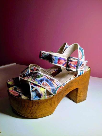 Sandalias Con Plataforma Coloridas