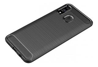 Funda Samsung A20 A30 M20 M30 Carbono + Templado Curvo 10d