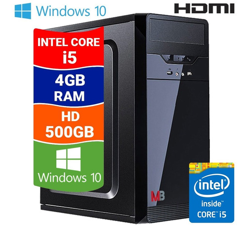 Imagem 1 de 7 de Pc Computador Cpu Intel Core I5 4gb Hd 500gb Windows 10
