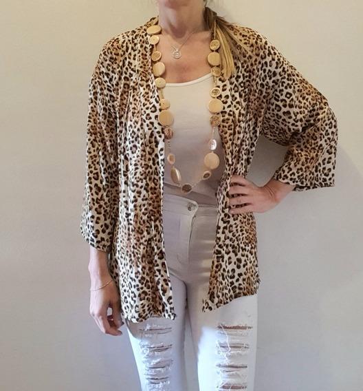 Kimono Animal Print Leopardo Con Lazo. 2 Colores