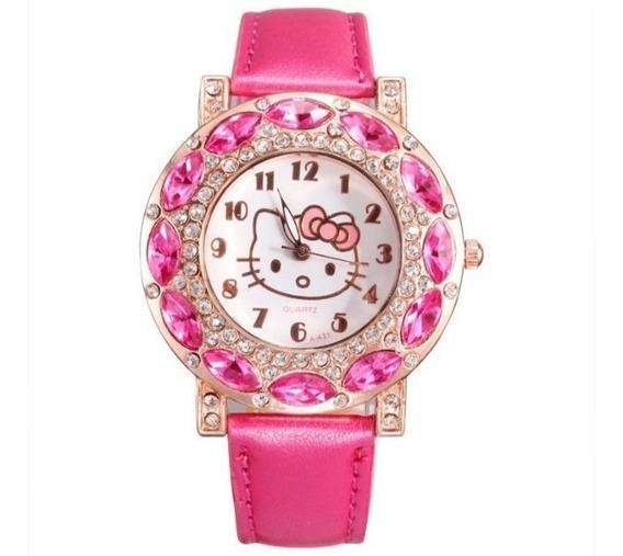 Relógio Strass Pulseira Couro Infantil Menina Hello Kitty