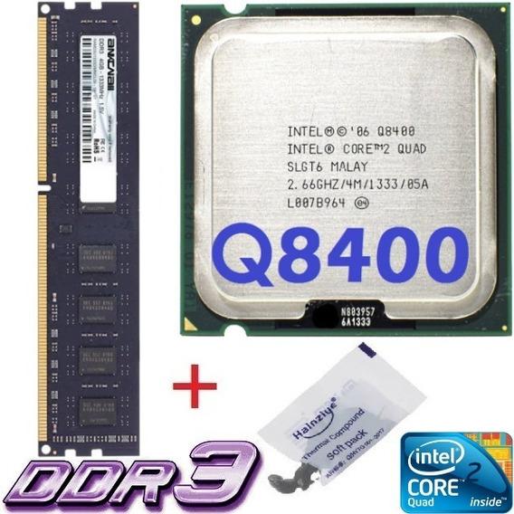 Kit Cpu Core 2 Quad Q8400 2,66ghz + Memória 4gb Ddr3 1333mhz
