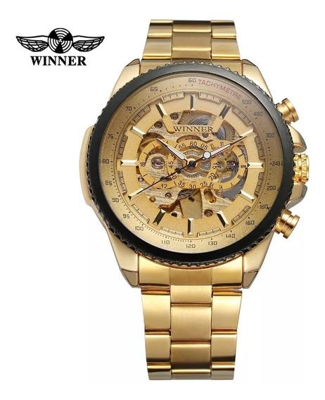 Relógio Masculino Original Automático Dourado Luxo Casual