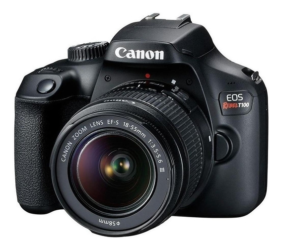 Canon EOS Rebel T100 18-55mm III Kit DSLR cor preto