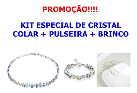 Kit Colar Brinco Pulseira Feminino Cristal Brilha Na Luz