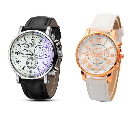 Kit 1 Relógio Masculino Yazole + 1 Relógio Feminino Genebra