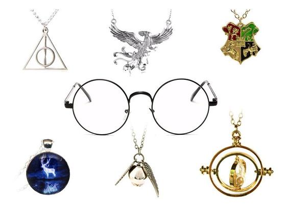 Super Kit Harry Potter Pingente + Óculos + Vira Tempo E Mt+