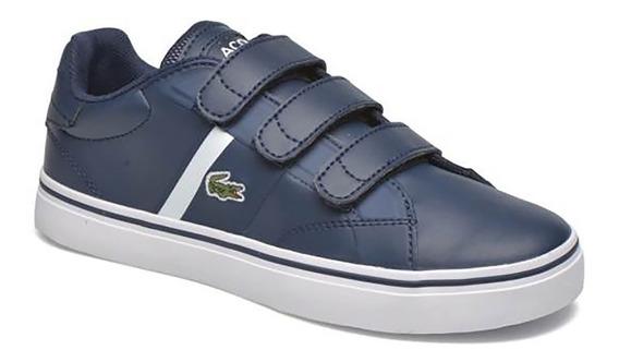 Lacoste Zapatillas Niño Abrojo Cuero Azul