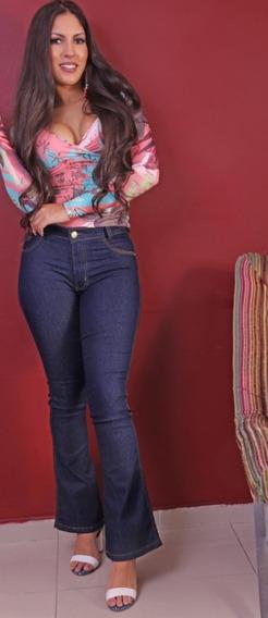 Calça Feminina Jeans Flare Feminina Strech E Elastano