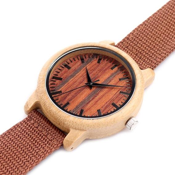 Relógio Unissex Bambu Madeira Bobo Bird Pulseira Nylon D10