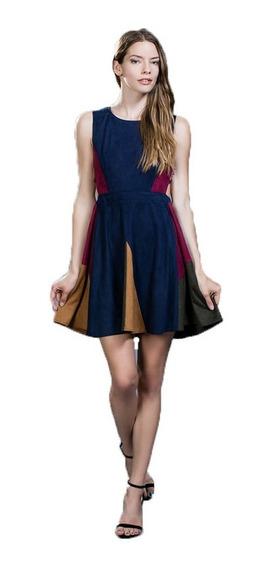 Vestido De Coctél Con Tela Aterciopelada Multicolor