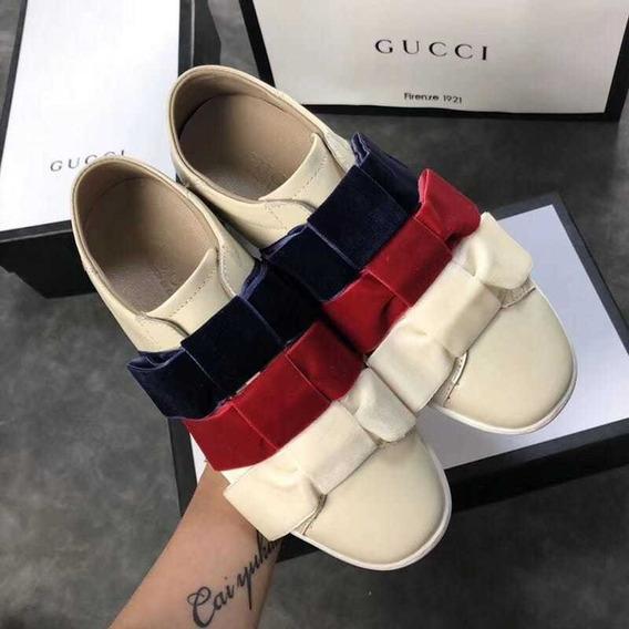 Tenis Gucci Moño Tribanda Piel 100% Envío Gratis