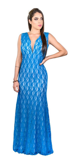 Vestido De Madrinha Formatura Festas Todo Em Renda Azul Tiffany