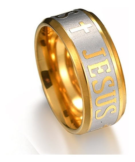 Anel De Jesus Cristo Aço Inox Banhado A Ouro 18k 8mm Barato