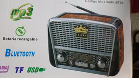Radio Recarreg Retro Faixas Am Fm Sw Usb Bluetooth Lanterna