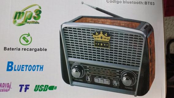 Radio Recarregavel Retro Am Fm Sw Usb Bluetooth Lanterna