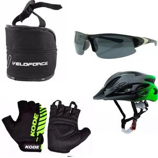 Capacete Bike Luvas Ciclismo Óculos Esporte E Bolsa Selim