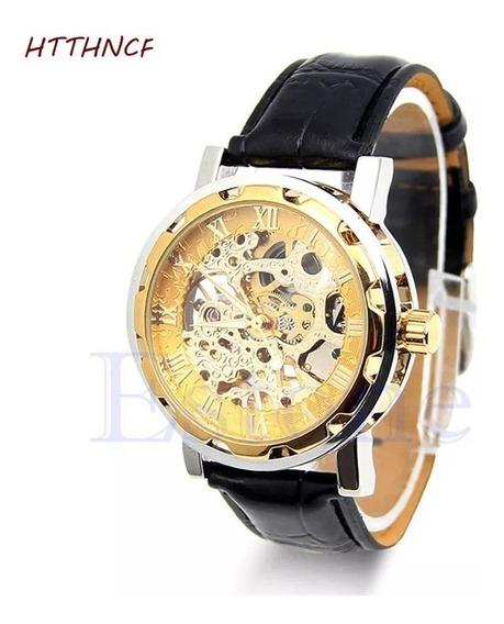 Relógio Mecânico De Couro Preto, 3d Design Replica Forsining