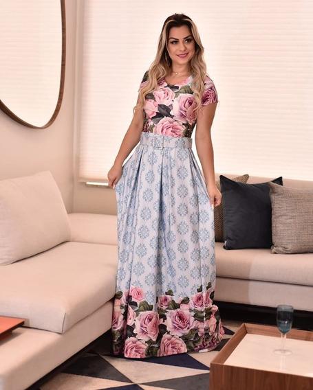 Vestido Longo Estampado Moda Comportada Evangelico P Ao Gg .