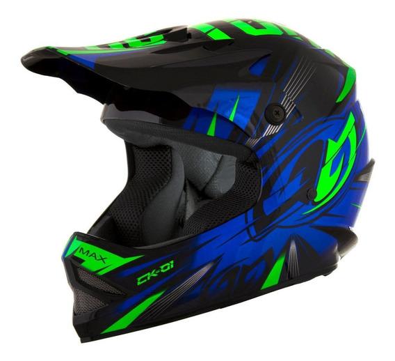 Capacete para moto cross Pro Tork Cross Kids CK-01 preto/azul tamanho 54
