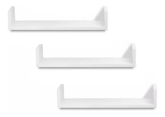 3 Prateleiras U 60x15 Mdf 15mm Branco Livros Revistas 60153u