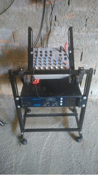 Kit Com - Mesa De Som Nanomix + Potência Oneal + Pedestal +