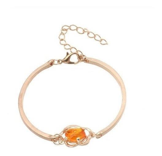 Pulseira Dourada Bracelete Feminina Love Ajustável Crystal