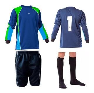 Kit Goleiro Infantil Futebol Camisa Bermuda Brinde Meião