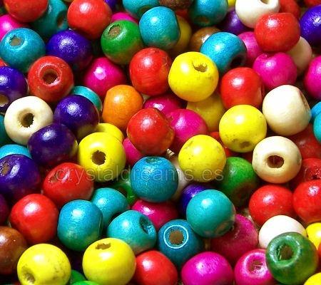 1000 Bolitas 6mm Madera Cuentas De Colores Bijou