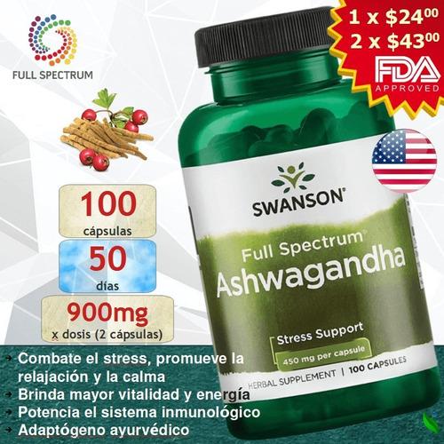 Imagen 1 de 9 de Ashwagandha 450mg @ 100 Cápsulas / Energía Vitalidad Estrés