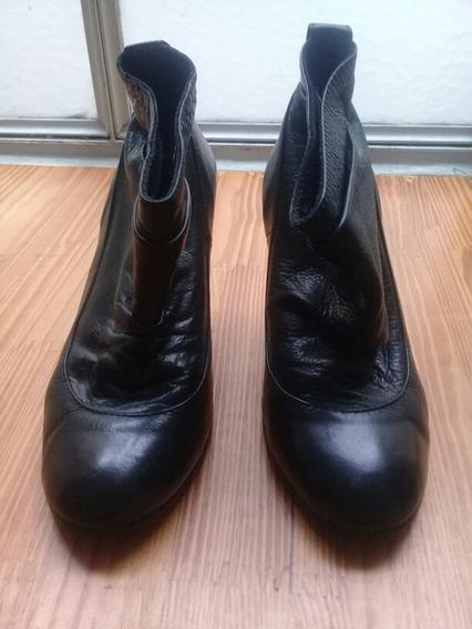 Botinetas Zapatos Clona 36 Cuero Negro