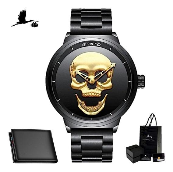 Relógio Gimto Caveira Gold 3d Original Dourado + Carteira Nf