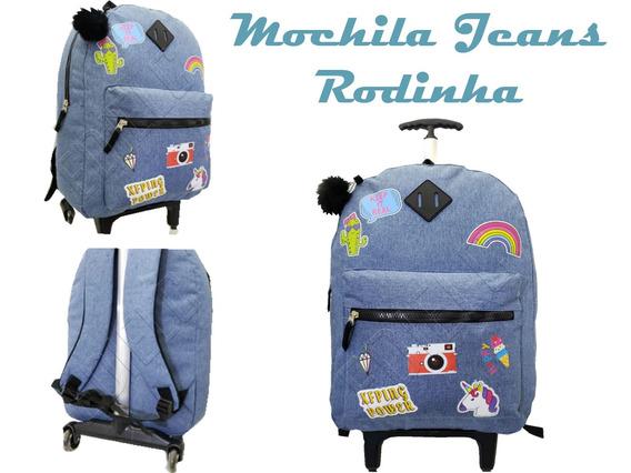 Mochila Teen Rodinha Unicórnio Jeans Escola +pompom Mc-01822