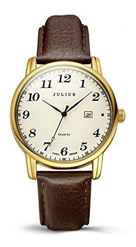 Relógio Feminino Jiulis Super Fashion Dourado Com Couro