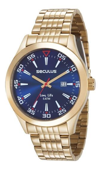 Relógio Seculus Masculino Analógico Dourado 23646gpsvda3